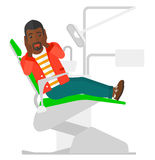 Frightened patient in dental chair. An african-american frightened patient sitting in dental chair vector flat design illustration isolated on white background Royalty Free Stock Photography