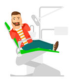Frightened patient in dental chair. A frightened patient sitting in dental chair vector flat design illustration  on white background. Square layout Royalty Free Stock Images
