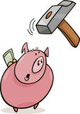 Frightened piggy bank and hammer Stock Photo