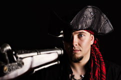 Frightened pirate at gunpoint Royalty Free Stock Image