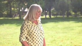 Frightened senior lady. stock video footage