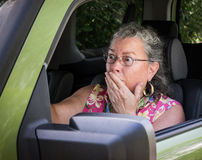 Frightened Senior Woman Driver Stock Photography