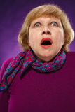 The frightened senior woman Royalty Free Stock Photo