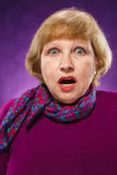 The frightened senior woman Royalty Free Stock Images