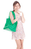 Frightened shopping woman Royalty Free Stock Images