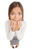 Frightened and stressed young business woman Stock Photo