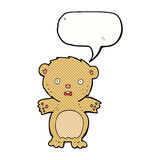 Frightened teddy bear cartoon with speech bubble Royalty Free Stock Image