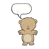 Frightened teddy bear cartoon with speech bubble Royalty Free Stock Photography