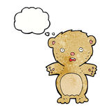 Frightened teddy bear cartoon with thought bubble Royalty Free Stock Images