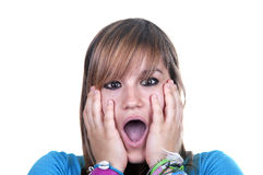 Frightened teenager. On white background Stock Photography