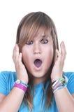Frightened teenager. On white background Royalty Free Stock Photo