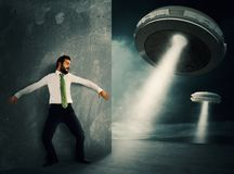 Frightened by UFO Stock Photo