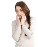 Frightened woman Royalty Free Stock Photography