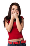 Frightened woman. Covers her mouth and hands Royalty Free Stock Images