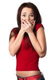 Frightened woman. Covers her mouth and hands Royalty Free Stock Image