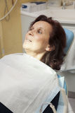 Frightened woman at dentist Stock Photography