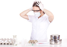 Frightened woman doctor or chemist Royalty Free Stock Photography