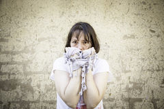 Frightened woman and fear Stock Photo
