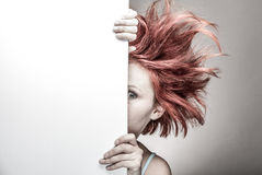 Frightened woman with messy hair Royalty Free Stock Photography