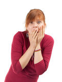 Frightened woman with open Stock Photos