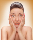 Frightened woman Royalty Free Stock Photos
