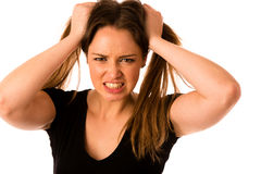 Frightened woman - preety girl gesturing fear Royalty Free Stock Photography