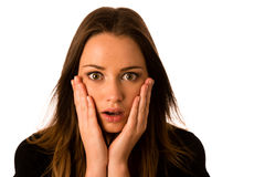 Frightened woman - preety girl gesturing fear. Isolated Royalty Free Stock Photos