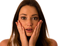 Frightened woman - preety girl gesturing fear Royalty Free Stock Images