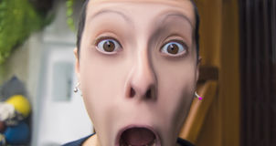 Frightened woman screaming with mouth wide open. On blurred background Stock Photography