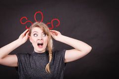 Frightened woman with sos help sign. Royalty Free Stock Image