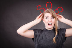 Frightened woman with sos help sign. Royalty Free Stock Photography