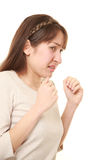 Frightened woman. Studio shot of Frightened woman on white background Stock Images