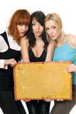Frightened women taking vintage board Stock Images