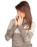 Frightened young brown hair woman Stock Image