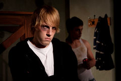Frightened young man Stock Image