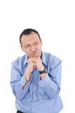 Frightened young man with funny facial expression Stock Photos