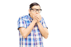 Frightened young man looking Royalty Free Stock Photo