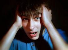 Frightened Young Man Royalty Free Stock Photos