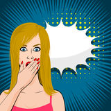 Frightened young sexy blonde girl pop art Stock Photos