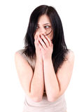 Frightened young woman Royalty Free Stock Photography