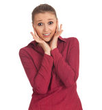 Frightened young woman Stock Images