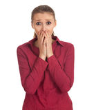 Frightened young woman Stock Photos