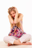 Frightened young woman Stock Photography