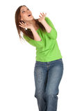 Frightened young woman in green blouse Stock Photos