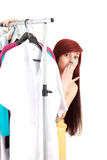 Frightened young woman in her own dressing room Royalty Free Stock Photo
