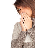 Frightened young woman in sweater Royalty Free Stock Photos
