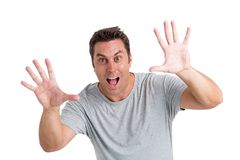 Frightening. Caucasian man trying to frighten the viewer Royalty Free Stock Photo