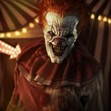 Frightening Evil looking clown posing in front of a circus tent. 3d rendering vector illustration
