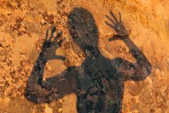 Frightening human shadow Royalty Free Stock Images