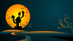 Frightening landscape. Halloween Background with the mysterious house against the big moon Stock Photos